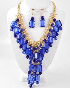 Gold Tone / Royal Blue Acrylic / Lead Compliant / Charm Necklace & Fish Hook Earring Set
