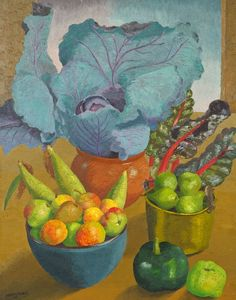 'Garden Produce' by Sir Cedric Lockwood Morris, 1963 Painting Collage, Painting & Drawing, Paintings, Bohemian Flowers, Great Artists, Canvas Art Prints, Garden Art, Still Life, Fine Art