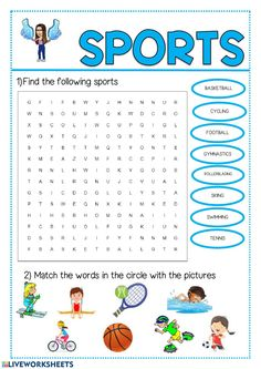 English Activities For Kids, Sports Activities For Kids, English Lessons For Kids, Kids English, English Class, Learn English, Worksheets For Kids, Sport English, English Exercises