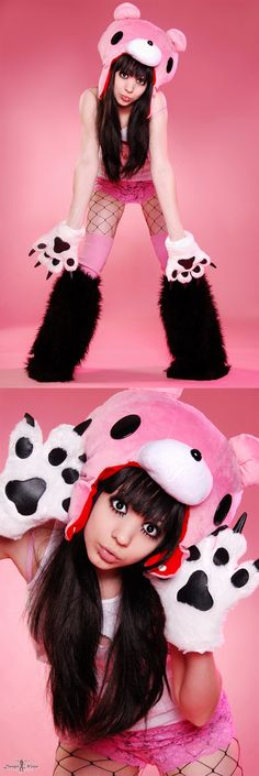 gloomy bear hat and mittens
