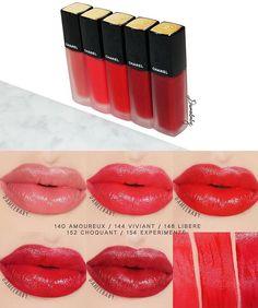 Dòng son mong đợi nhất của mùa Thu năm nay chính là son kem của Chanel mang tên Rouge Allure Ink ❤️. Cuối cùng thì Chanel cũng có dòng son thực sự lì dành cho phái đẹp . Dòng son có 8 màu từ nude và tập trung chủ yếu ở tone đỏ hồng, thỏi son thiết kế sang chảnh khỏi bàn, nói chung là quá đẹp và quá xứng đáng để sở hữu. Shop chơi luôn gần bảng màu với các màu có sẵn là: 140, 142, 144, 146, 148, 150, 152 . #chanelrougeallureink #chanellipstick #chanelink #chanel #rougeallureink Lipstick Kiss, Lipstick Swatches, Lipstick Colors, Liquid Lipstick, Lip Colors, Lipsticks, Makeup On Fleek, Kiss Makeup, Beauty Makeup