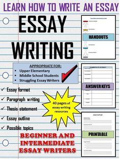 This resource includes everything you need to teach your students how to write an essay. Using several different analogies in this unit as reminders, students can easily remember the important parts of essays and its elements. Essay Writing Skills, Essay Writer, Paragraph Writing, Persuasive Essays, Writing Strategies, Academic Writing, English Writing, Writing Resources, Teaching Writing