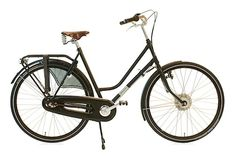 WorkCycles Secret Service Ladies Bike - Dutch made, matte black, step through, 8 speed gearing, steel frame, hub dynamo head and tail lights, city errand bike with optional front rack - oh the things you could carry