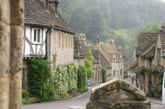 The idyllic village of Castle Combe with its river running through and hills in the background. 5 miles for Church Cottage. Wonderful Places, Beautiful Places, Cotswold Villages, Castle Combe, Stone Houses, Stone Cottages, English Village, Next Holiday, Cozy Cottage