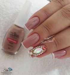 As 99 melhores unhas francesinhas decoradas por manicures do Brasil Nail Tattoo, Manicures, Nails, Gemstone Rings, Nail Art, Turquoise, Tattoos, Beauty, Jewelry