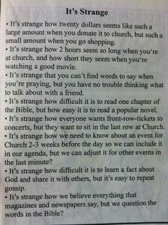 It's Strange article clipping Comparing secular things we do to christian things. Plus I added more to a list Prayer Quotes, Bible Verses Quotes, Faith Quotes, Scriptures, Mommy Quotes, Scripture Verses, Religious Quotes, Spiritual Quotes, Spiritual Awakening