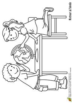 Dessin à colorier d'un garçon et d'une petite fille devant une mappemonde