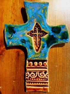 Architectural Blue Cross  #crosses #architecture #potterycrosses SOLD