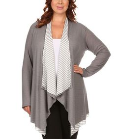 Another great find on #zulily! Gray & White Stripe Layered Open Cardigan - Plus by Pretty Young Thing #zulilyfinds