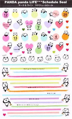 cute colorful panda animal schedule seal stickers 2