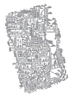 NYC hand-screenprinted map by Famille Summerbelle
