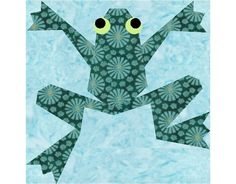 Kiriki the Frog paper piecing quilt block pattern PDF