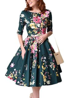 Sidefeel Women Vintage 1950 s 3 4 Sleeve Floral Print Pleated Cocktail  Swing Dress(S-XXL. Vintage Inspired OutfitsVintage ... 5b48afb4350d
