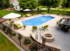 Inground Pools – North Eastern Pool & Spa – Rochester – Lisa Hilts – Join the world of pin Swimming Pool Landscaping, Small Backyard Pools, Backyard Pool Designs, Swimming Pool Designs, Backyard Patio, Landscaping Ideas, Backyard Landscaping, Inground Pool Designs, Outdoor Pool