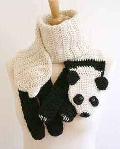 PDF Crochet Pattern for Panda Bear Scarf - Animal Woodland Warm DIY Fashion Tutorial Winter Fall Autumn