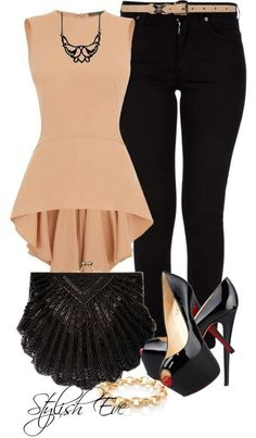 dusty rose peplum tank with skinny black jeans and patent black peep toe pumps