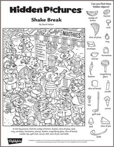 Shake Break hidden pictures puzzle: