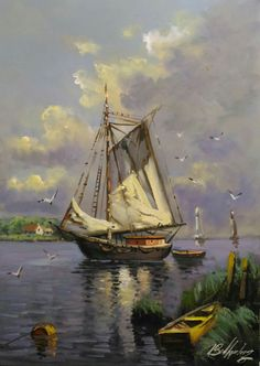 Segelboot – Okyanus – Join in the world Oil Painting Pictures, Pictures To Paint, Seascape Paintings, Oil Painting Abstract, Watercolor Artwork, Watercolor Landscape, Boat Drawing, Boat Art, Outdoor Paint