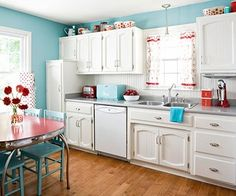 Red And Turquoise! Love This Combo. A Lot Of My Kitchen Is Red And Black  Already...this Would Be Awesome! | Holmes Sweet Home | Pinterest |  Breakfast Nooks, ...