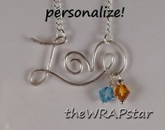 Love Necklace with Couple's Birthstones.  great personalized gift.  wire wrapped jewelry
