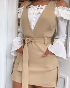White shirt and beige dress over Mode Outfits, Dress Outfits, Girl Outfits, Fashion Dresses, Look Fashion, Girl Fashion, Womens Fashion, Fashion Design, Classy Outfits