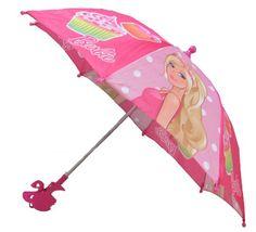 Barbie Girl's Umbrella with 3D Handle