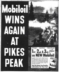 Mobiloil ad for the Pikes Peak Hill Climb 1949
