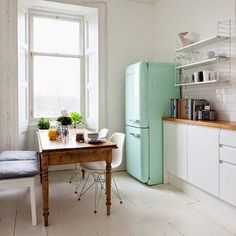 I am in love with this simple and stylish kitchen - the colour of the Smeg fridge, white exposed wooden flooring and cute Eams chairs - love it, interior inspiration