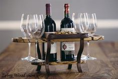 Ready for summertime entertaining?  Wine Bottle Caddy Double Bottle 4 Glasses with Food Serving Tray