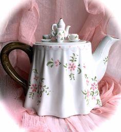 Vintage Floral Porcelain Teapot w/ Miniature by CoCoBlueTreasures