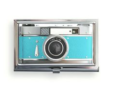 Business Card Case Vintage Style  Blue Camera Metal Case Fits Business, Credit, Debit and Gift Cards Aqua Teal Blue. $18.00, via Etsy.