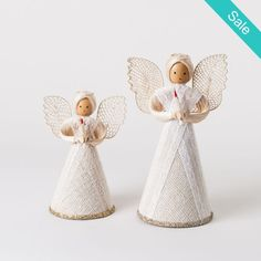 "Vintage Style Angel Figurine 6"" or 8"" ~ These vintage style fabric and paper angels will take you back in time!  Lace, glitter and nostalgia will make these a favorite Holiday decoration!  On Sale for $6.50 (was $8.00). Click link in bio.  #Christmas #vintage #angels #shopping #holiday"