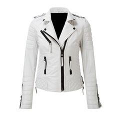Women's Lambskin Leather Jacket Motorcycle Real Leather Slim Fit Biker Jacket – Leather Style Lambskin Leather Jacket, Faux Leather Jackets, Biker Leather, Leather Coats, Motorcycle Leather, Suits For Women, Jackets For Women, Slim Fit Jackets, White Leather