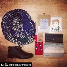 #Repost @etpicesttoutfribourg  Idées cadeaux pour Monsieur ... #etpiscesttout #etpiscesttoutfribourg #shoes #monsieurmoustache #socks #ballonet #scarf #mapoésie #boxer #adam #papercraft #paperart #gift #christmasgift #BallonetSocks #fashion #style #london  #flatlay