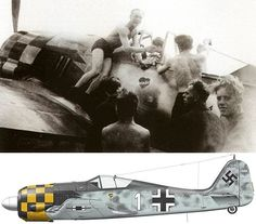 Bernhard Kunze JG 1 Profile artwork is incorrect - there were no black/yellow chequers on Kunze's machines - the cowls of the Fw 190s of the different Staffeln of JG1 were painted the same identical black/white colour combination irrespective of the Staffel or Staffel Kennung on every JG 1 checker nose Fw 190...""