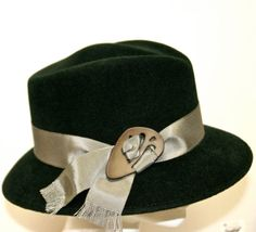 Hunter Green Womens Fedora, Medium Brim Womens Hat, Casual Winter Hat