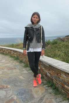 Alba Galocha, from Tea Time : love her fluor running trainers with leather jack,grey jumper and white tee