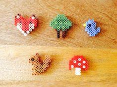 Woodland creatures hama perler bead magnet set fox bird squirrel mushroom tree fairytale