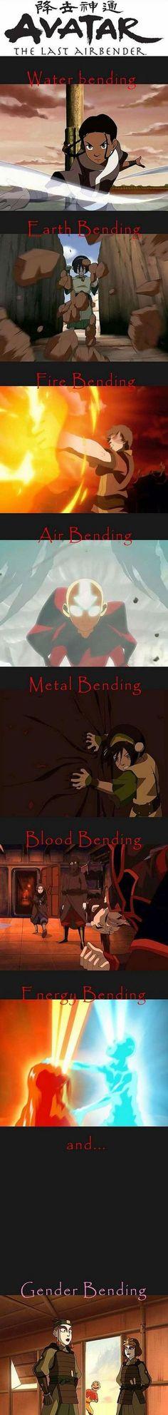 """Different Types of Bending In Avatar... """"Nice dress, Sokka"""" gender bending.lol"""