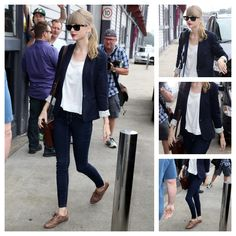 Taylor Swift                            Zara blazer  Ray Ban sunglasses  Pearl Collective bracelet  Steve Madden oxfords                              Sarah: Arguably her most put-together candid outfit of the calendar year. Everything about this outfit represents staple pieces that should be in every girl's closet. A solid pair of jeans, leather satchel, navy blazer, scoop-neck white tee and some brown leather oxfords. Easy, casual and completely on-point fashion wi