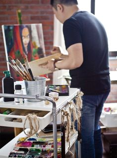 Stash your arts and crafts essentials in a portable trolley so any room can become your studio! #IKEAIDEAS