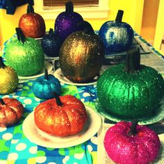 Glitter Pumkins- paint on elmer's glue & sprinkle with a fine glitter.