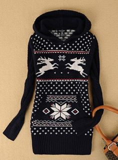 X'mas Deer Hooded Sweater Navy$68.00