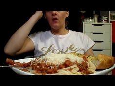 ASMR Eating Sounds: Pasta, Beans & Garlic Bread