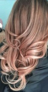 Rose Gold Ombre.  Natural blonde fading into rose gold towards the ends.  Perfect if you love a soft, warm look.