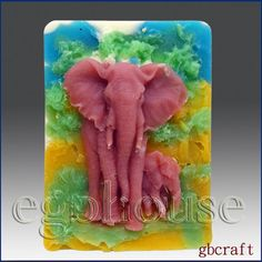 2D Silicone Soap Mold  Fascinating Elephants  free by egbhouse, $32.00