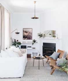 my scandinavian home: Beautiful Stays: A Hundred-Year-Old Workman's Cottage Cottage Living Rooms, Home Living, Apartment Living, Living Spaces, Hygge Home, Scandinavian Home, Home Look, House Tours, Mid-century Modern
