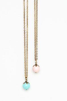 Beaded Petal Necklace Aqua and Pink Brass by JacarandaDesigns