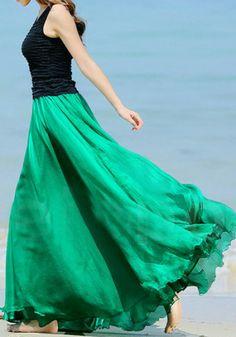 Circle Maxi Skirt - Green - LookbookStore
