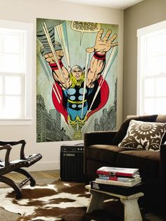 Marvel Comics Retro: Mighty Thor Comic Panel, Flying (aged) Wall Mural at Art.com